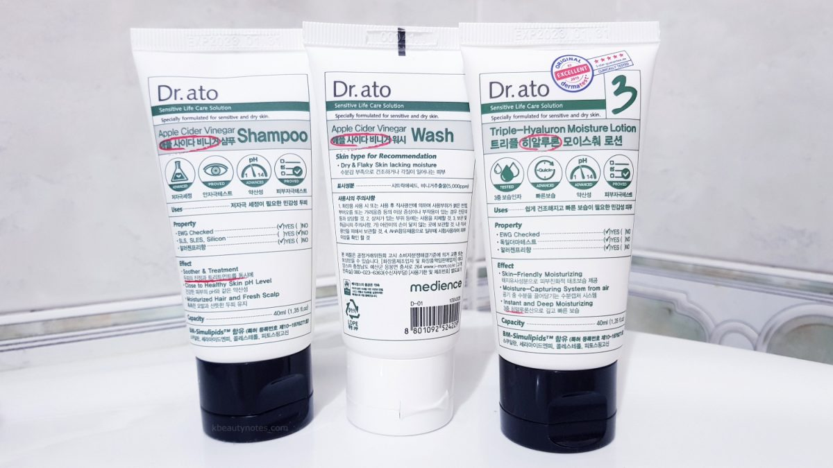 Review: Dr.ato Apple Cider Vinegar Shampoo, Wash and Triple-Hyaluron Moisture Lotion